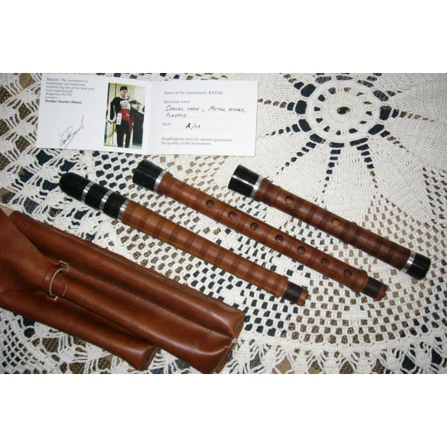 BULGARIAN TRADITIONAL KAVAL FLUTE in A, made by Y. Vassilev