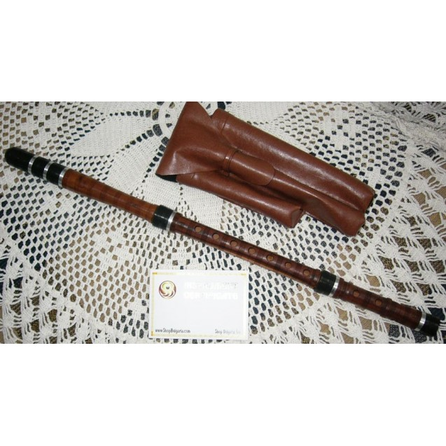 BULGARIAN TRADITIONAL KAVAL FLUTE in D of CORNEL TREE, made by Y. Vassilev